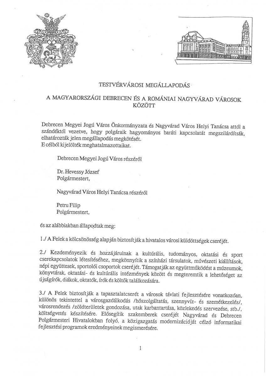 Nagyvárad testvérvárosi megállapodás 1. oldal